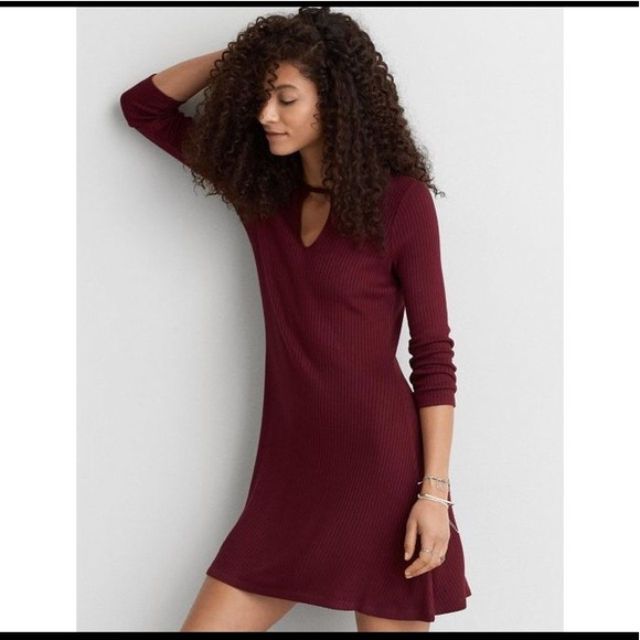9d4a4d1ddc47 American Eagle Outfitters Dresses | Aeo Maroon Ribbed Swing Dress ...